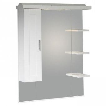 Roper Rhodes New England 800mm Mirror with Shelves, Cupboard & Canopy in White NCSC8W