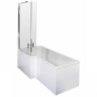 Square Shower Bath with Quattro Screen & Gloss White MDF Front Panel