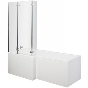 Square Shower Bath with Ella Hinged Screen & Acrylic Front Panel