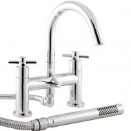 Kristal Deck Mounted Bath Shower Mixer with Swivel Spout, Shower Kit and Wall Bracket