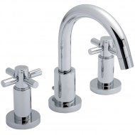 TEC Crosshead 3 Tap Hole Basin Mixer with Swivel Spout and Pop Up Waste