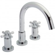 TEC Crosshead 3 Tap Hole Bath Mixer with Swivel Spout