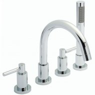 TEC Lever 4 Tap Hole Bath Mixer with Swivel Spout, Shower Kit and Hose Retainer