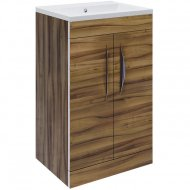 Hudson Reed Memoir Compact Gloss Walnut 500mm Two Door Floor-standing Unit and Basin – FME034