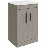 Hudson Reed Memoir Compact Gloss Blonde Oak 500mm Two Door Floor-standing Unit and Basin – FME033