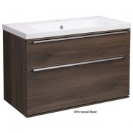 Roper Rhodes Scheme 800mm Wall Mounted Basin Unit with Double Drawers in Smoked Walnut SCH800D.SW