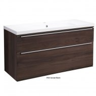 Roper Rhodes Scheme 1000mm Wall Mounted Basin Unit with Double Drawers in Smoked Walnut SCH1000D.SW