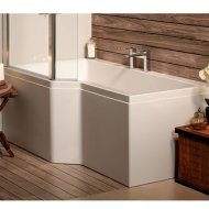 Carron Urban Shower Bath L Shaped Panel Carronite 1500 x 750 x 540mm in White – 23.1047 (Q4-02505)
